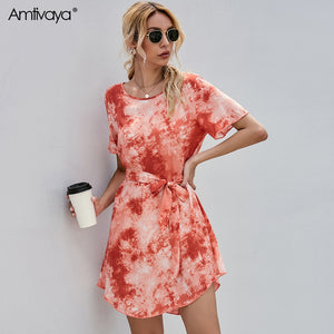 Amtivaya Girl Gradient Tie-Dye Dress Short Sleeve Waist Straps And Knee Skirts Print Fashion Casuals Women 2020 Summer Clothing
