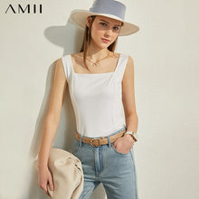Load image into Gallery viewer, AMII Minimalism Spring Summer Fashion Solid Square Collar Women Tank Tops Causal Blouse Female camisole Tops 12070200