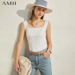 AMII Minimalism Spring Summer Fashion Solid Square Collar Women Tank Tops Causal Blouse Female camisole Tops 12070200
