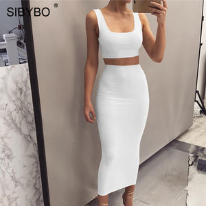 Sibybo Autumn Sleeveless Sexy Two Piece Set Dress Women Square Collar High Waist Long Dress Party Casual Summer Tank Dress