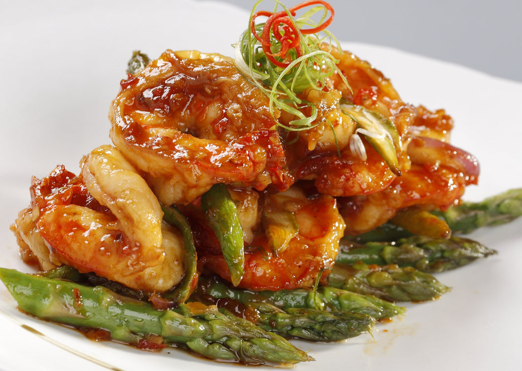 Stir-Fried Asparagus - Prawn Skewers