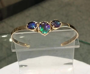 Ammolite Bracelet with three gemstones set in Solid Gold