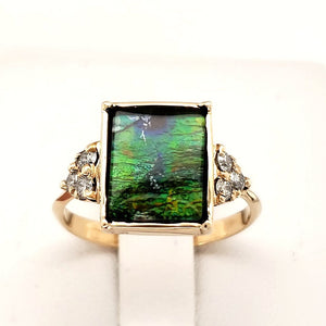Ammolite Ring set in Solid Gold with Six Diamond Accents