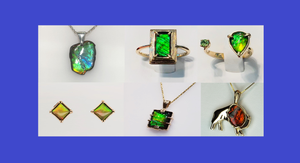 Picture with six types of Jewelry: Ammonite Freeform Pendants, Gold Ammolite Ring, Gold Ammolite Split Ring with Emerald, Ammolite Square Silver Earrings, Ammolite Sterling Silver Rectangle Necklace, and Ammolite Buffalo Shaped Silver Pendant