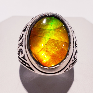 Genuine Canadian Ammolite Ring.