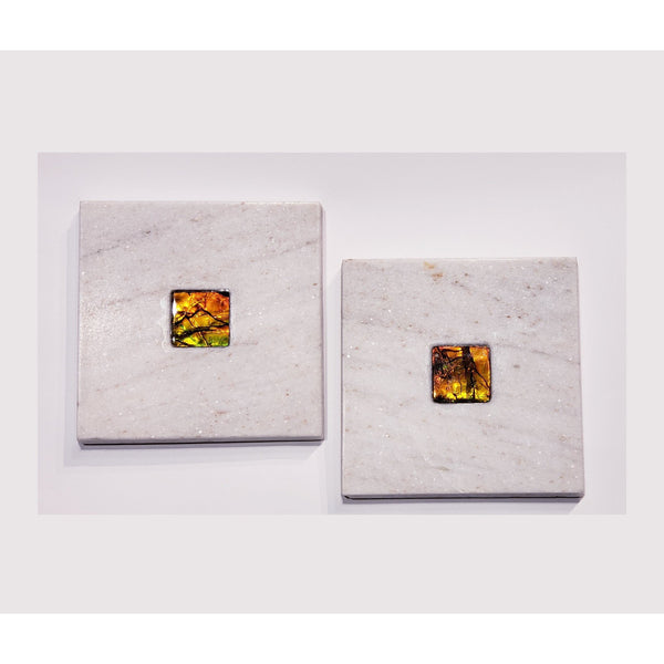 Dolomite Dual Coaster Set with Ammolite Gemstones