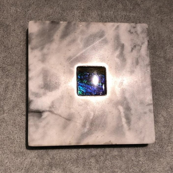 White Marble Coaster with Ammolite Gemstone