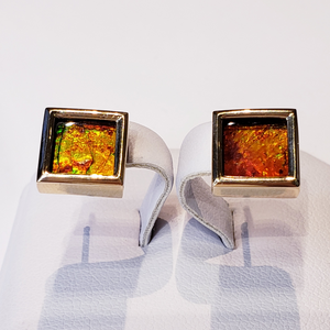 Genuine Alberta Ammolite And Gold Earrings.