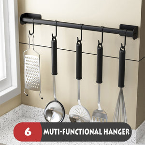 ABlack Kitchen Shelves Organizer Wall Hanging Stainless