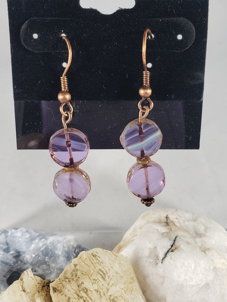 Hand Cut Glass & Copper Earrings