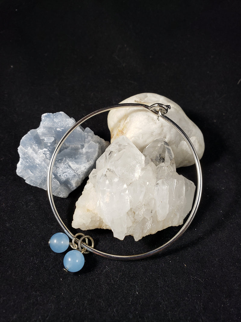 Wire Bracelet with Chalcedony Bead charms