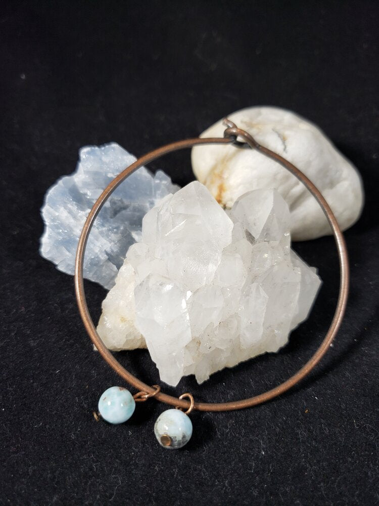 Copper Wire Bracelet with Larimar Bead charms