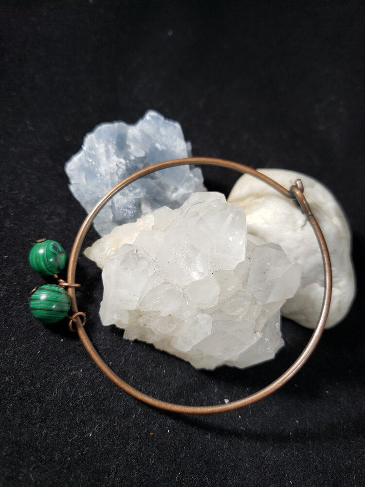 Copper Wire Bracelet with Malachite Bead charms