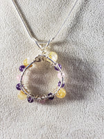 Amethyst, Citrine and Rose Quartz Pendant on Sterling