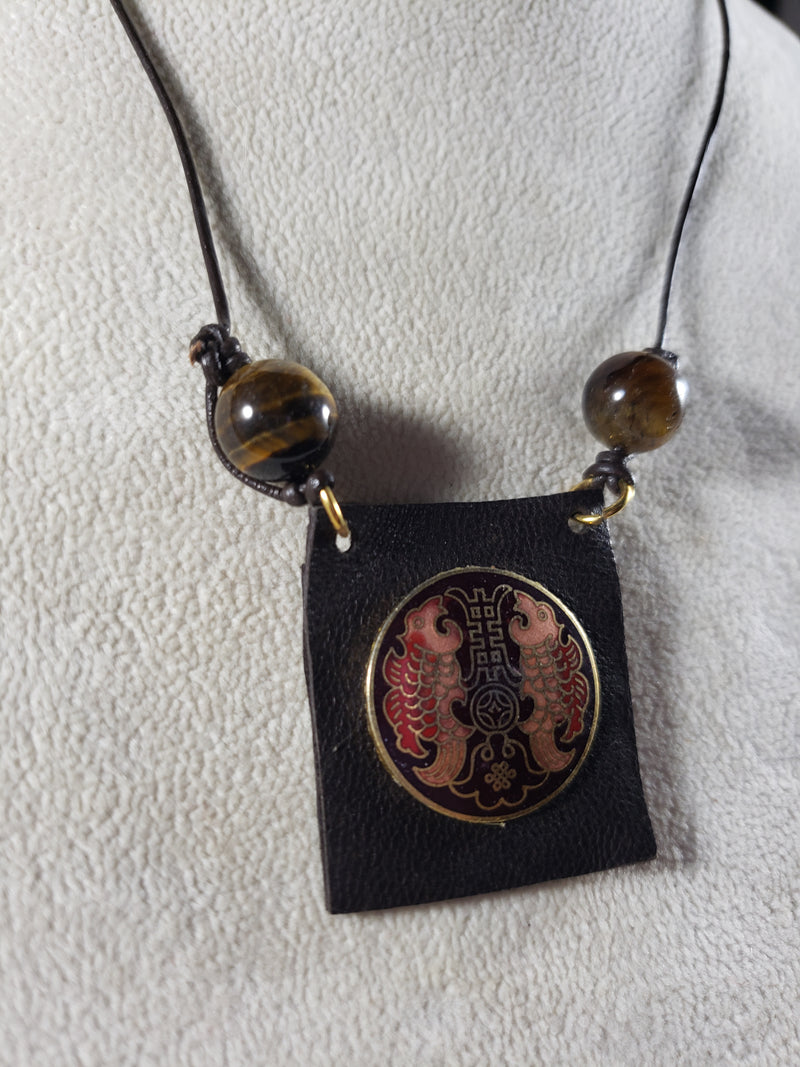 Leather and Cloisonne Pendant