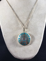 Tibetan Silver and Enamel Lotus Necklace