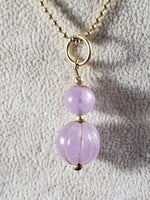 Amethyst ~ Carved Beads on Gold Filled Chain