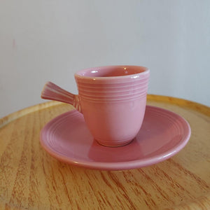 Fiesta Rose Stick Handled Demi Cup & Saucer. Retired