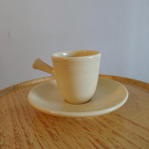 Fiesta Pale Yellow Stick Handled Demi Cup & Saucer Retired