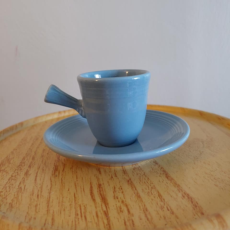 Fiesta Periwinkle Stick Handled Cup & Saucer Retired
