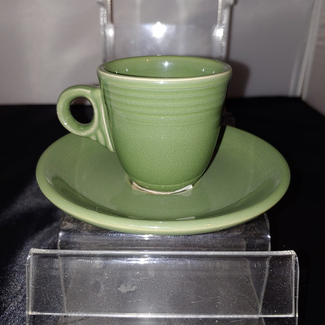 Fiesta Sage Ring Handled Demitasse Cup and Saucer