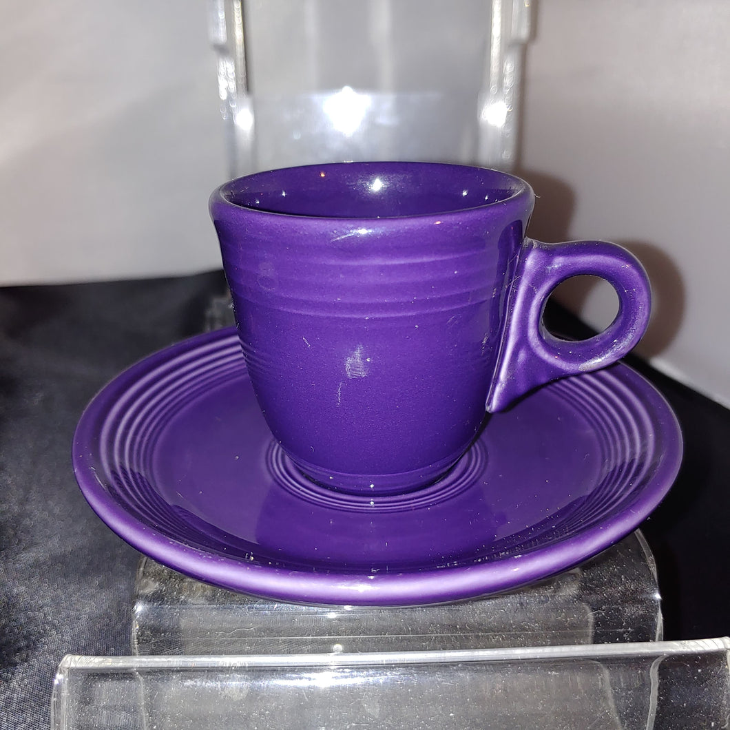 Fiesta Plum Ring Handled Demi Cup and Saucer Retired