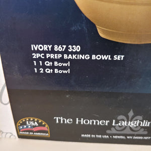 Fiesta  IVORY 2 pc Solid Colored Prep Bowl, Baking Bowl Set