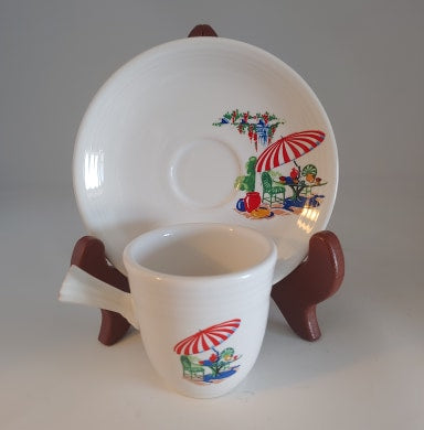 Fiestaware, AD Cup & Saucer, White, Sunporch China Specialties,