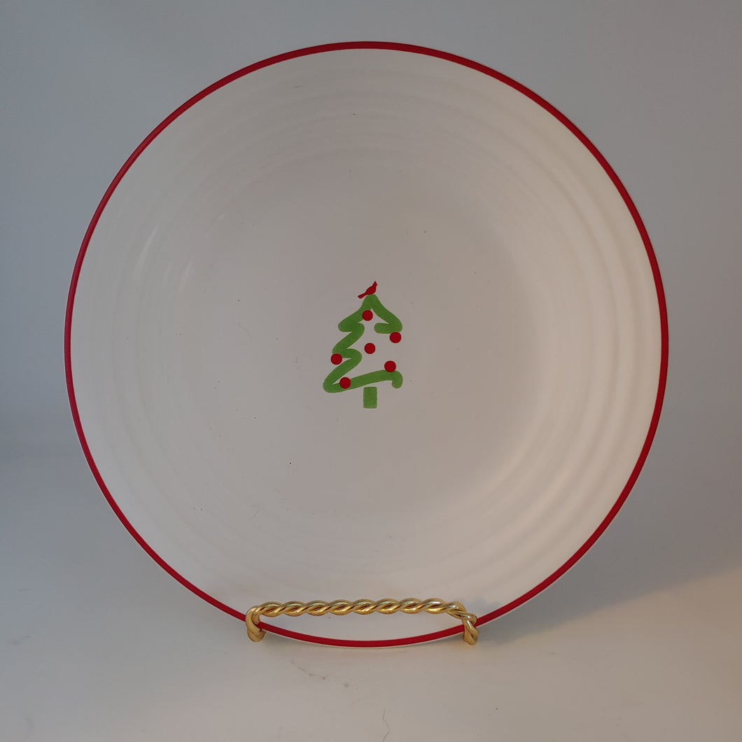 Fiesta Macy's Christmas Tree Cardinal Luncheon  Fiestaware White Red