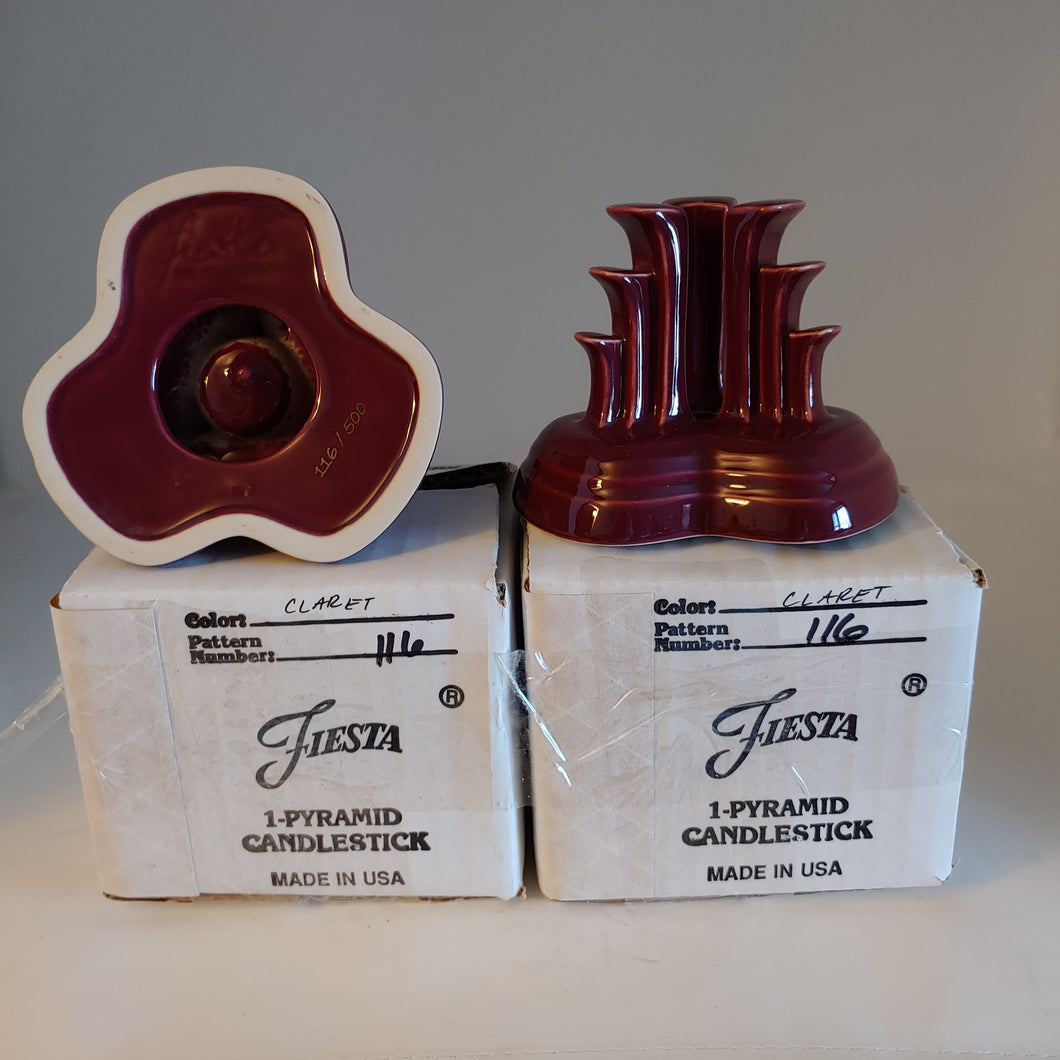 CLARET PYRAMID CANDLE HOLDER PAIR ~ NIB # 116/ 500 Contemporary Fiesta Ware