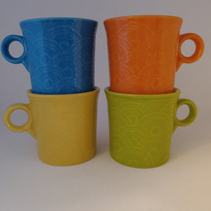HLCCA Fiesta Bright Color Fan Mugs Exclusive Set Peacock, Lemongrass, Tangerine, Sunflower