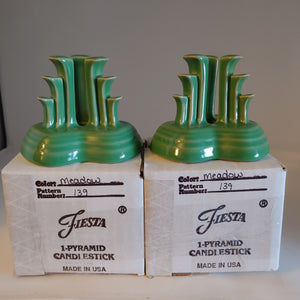 MEADOW PYRAMID CANDLE HOLDER PAIR ~ NIB # 139/ 500 Contemporary Fiesta Ware