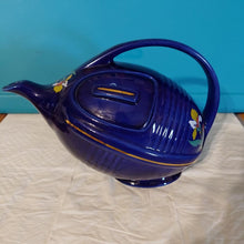 Load image into Gallery viewer, Hall Art Deco Blue Blossom Football Teapot