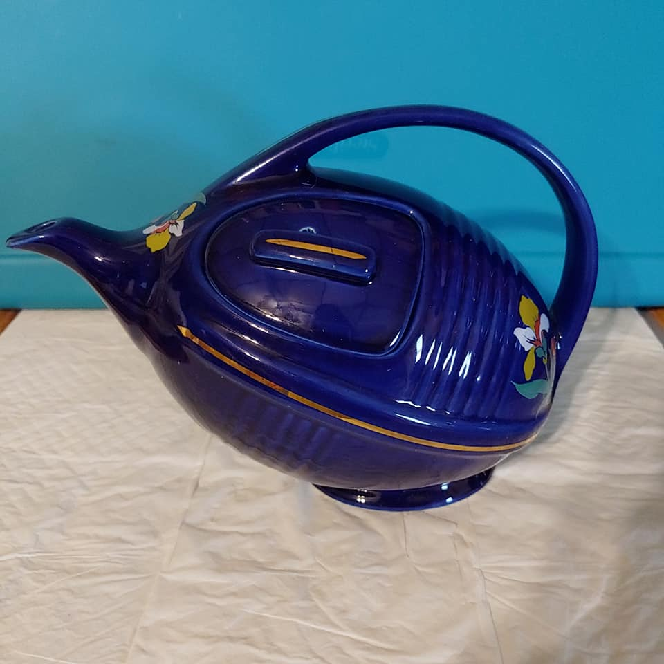 Hall Art Deco Blue Blossom Football Teapot