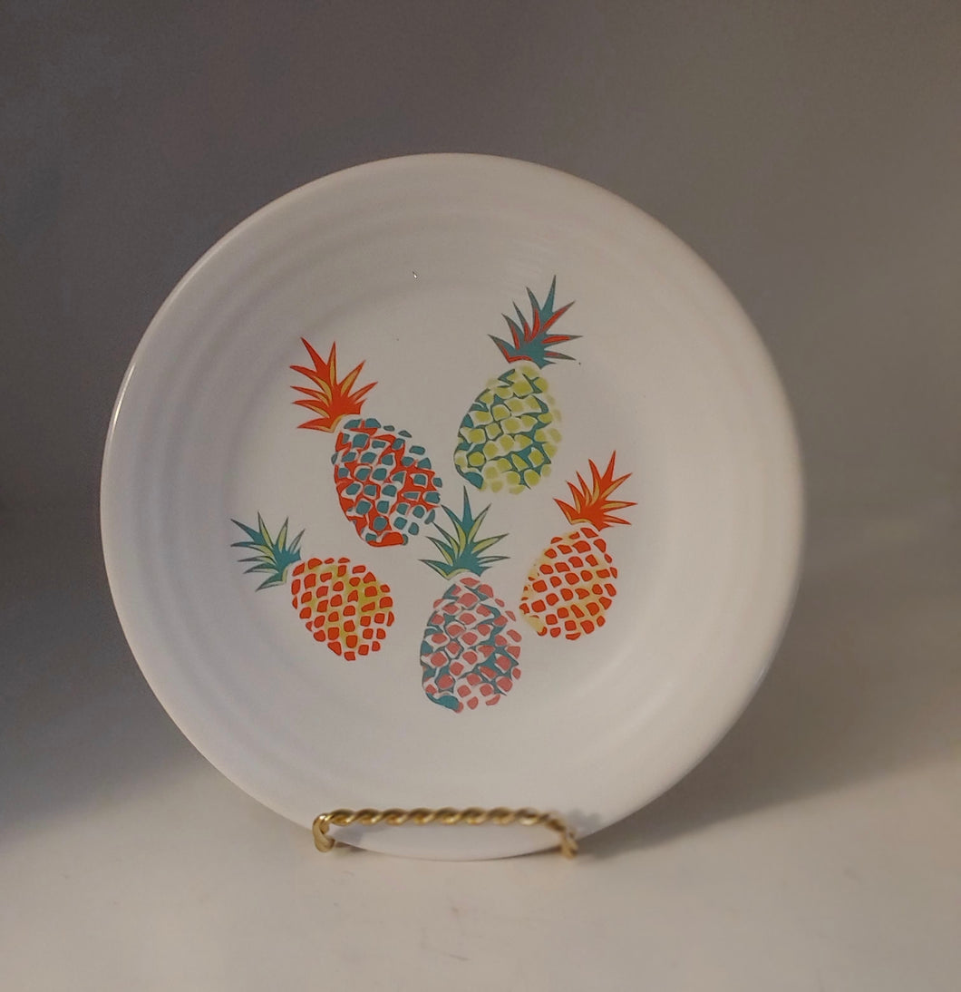 FIESTA Fiestaware Tropical Pineapples  Belk Exclusive White Luncheon Lunch Plate