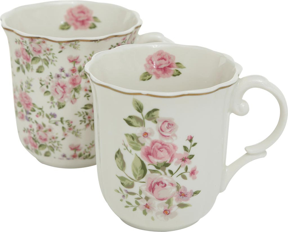 Set Mug Romantico in porcellana con rose - Casa da Sogno