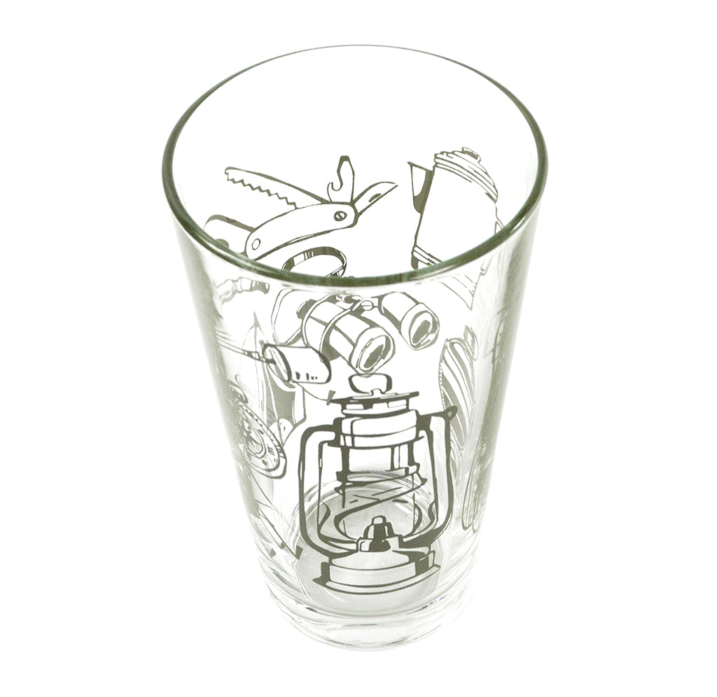 Camping Tools Pint Glass