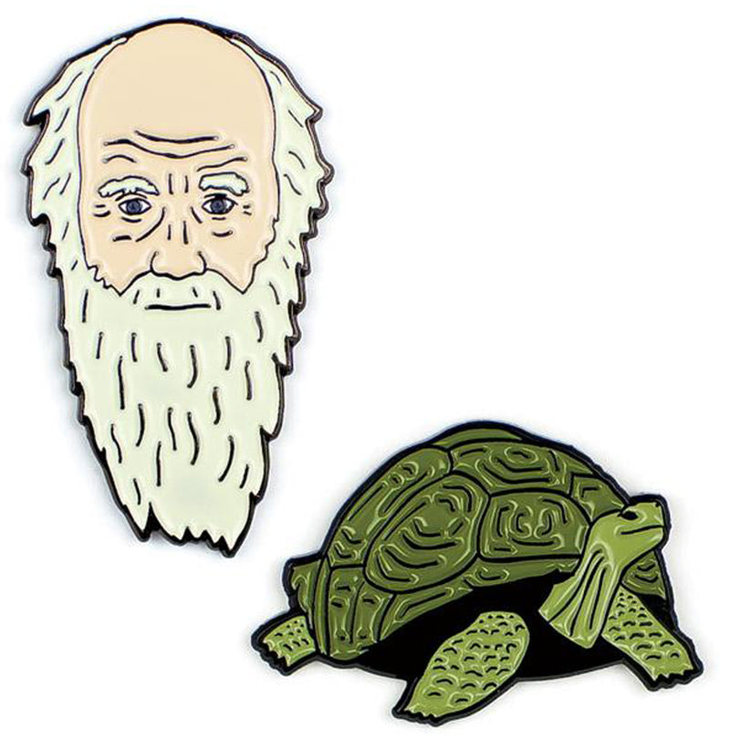 Charles Darwin and Tortoise Enameled Pin Set
