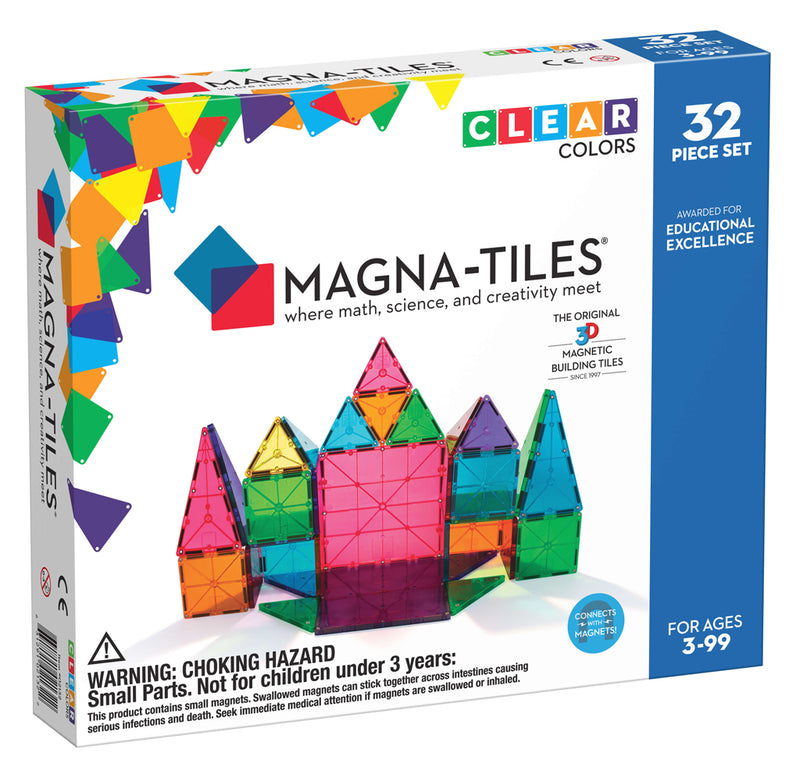 Magna-Tiles Clear Colors - 32-Piece Set