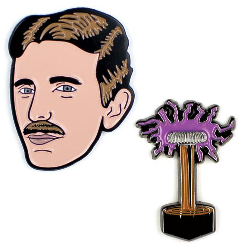 Pin Nikola Tesla and Telsa Coil Enameled Pin Set