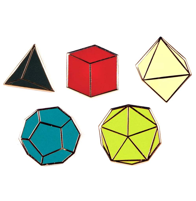 Platonic Solids Enameled Pin Set