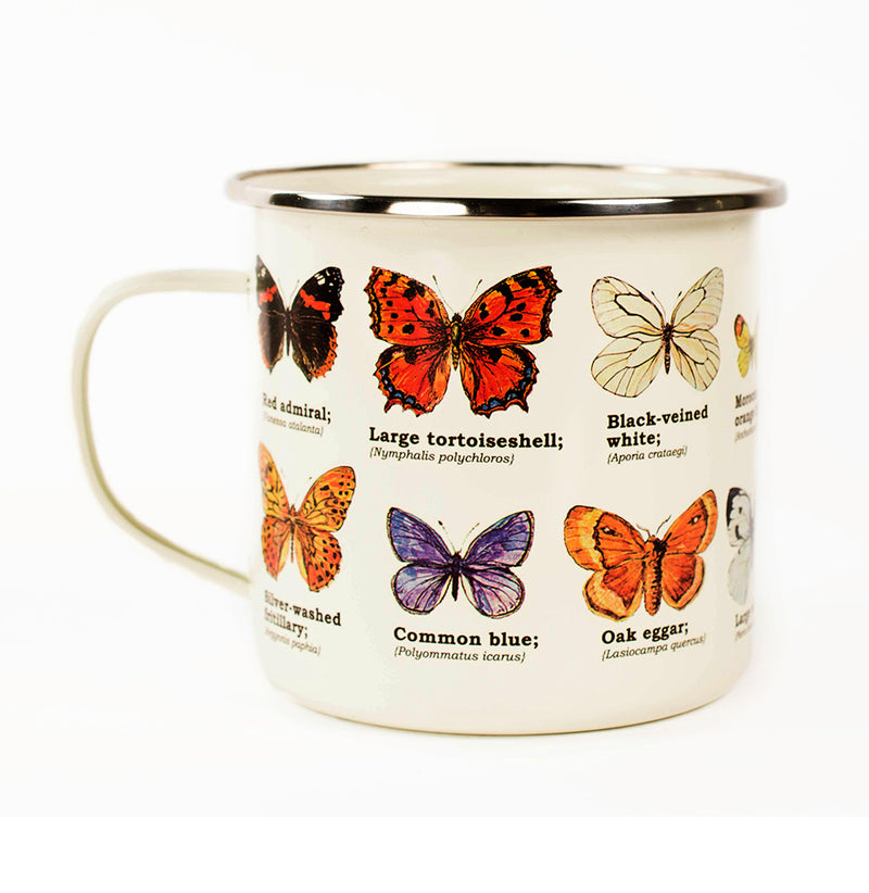 Butterfly Enameled Mug