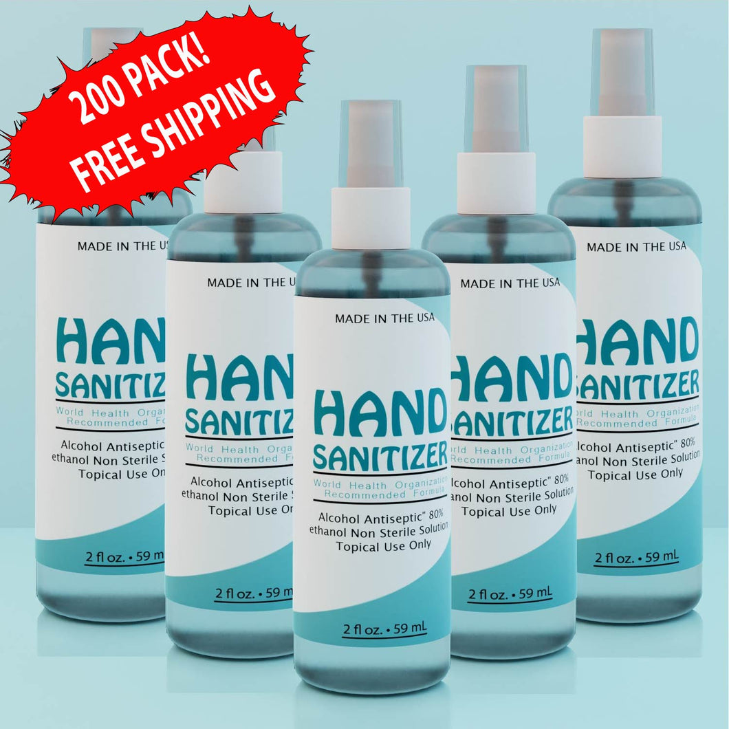 LIQUID HAND SANITIZER 2oz SPRAY TOP (PACK OF 200)