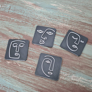 Ethnic Woman Line Art Faces - Set 01 - Polymer Clay Stamp