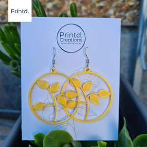 Seedlings - Plant and Circle Earring Set