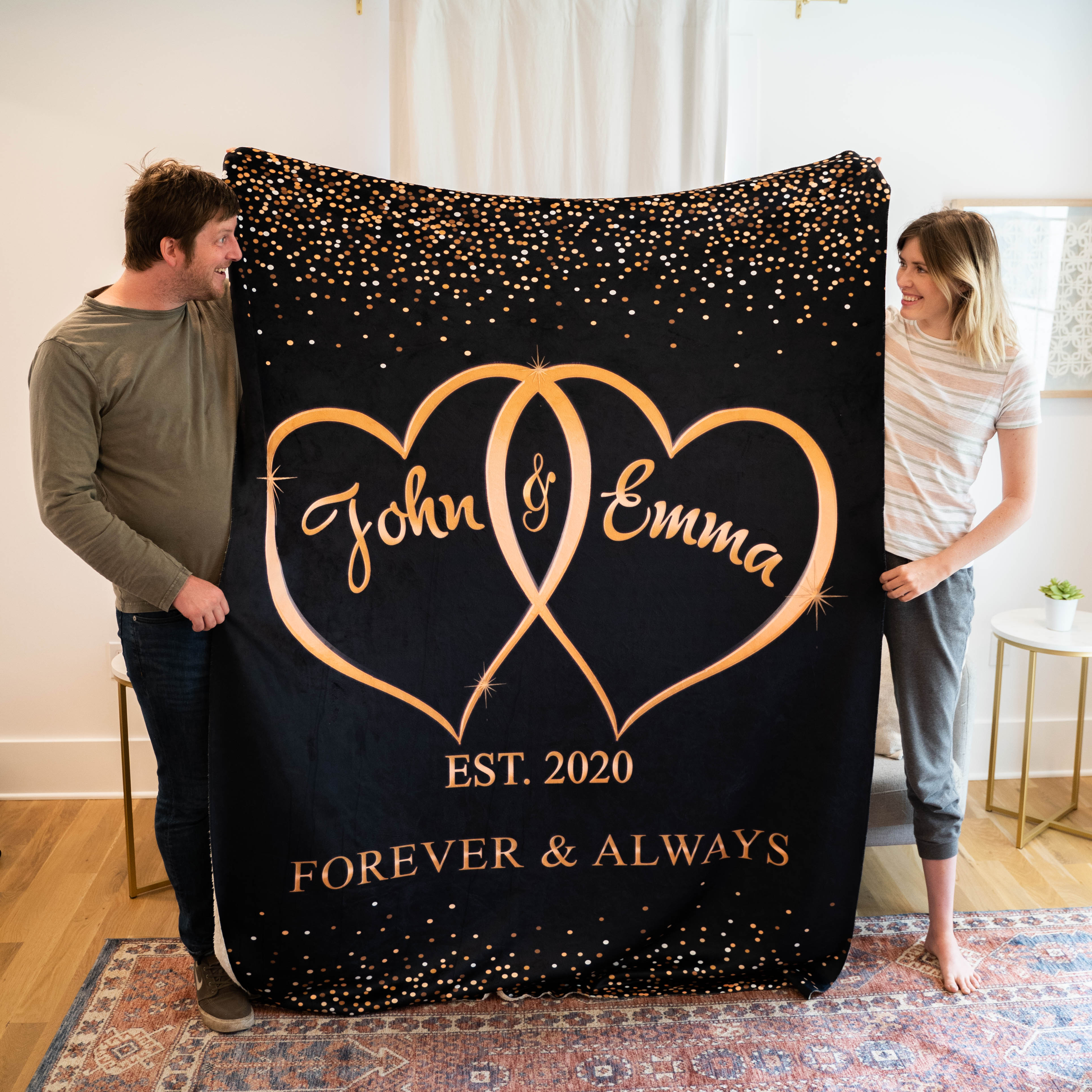 Personalized Two Heart Always Forever Together Couple Blanket Squad Angels