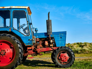 Beadnell Tractor, Northumberland coast, North East England.