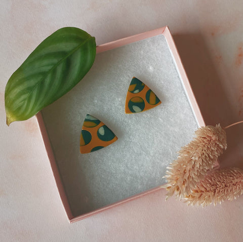 Triangle Studs - Green & Gold