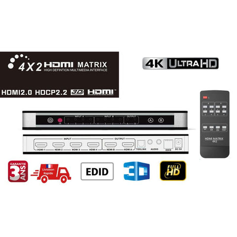 HDMI Martix 4x2 -4k commutateur ,Audio video Splitter