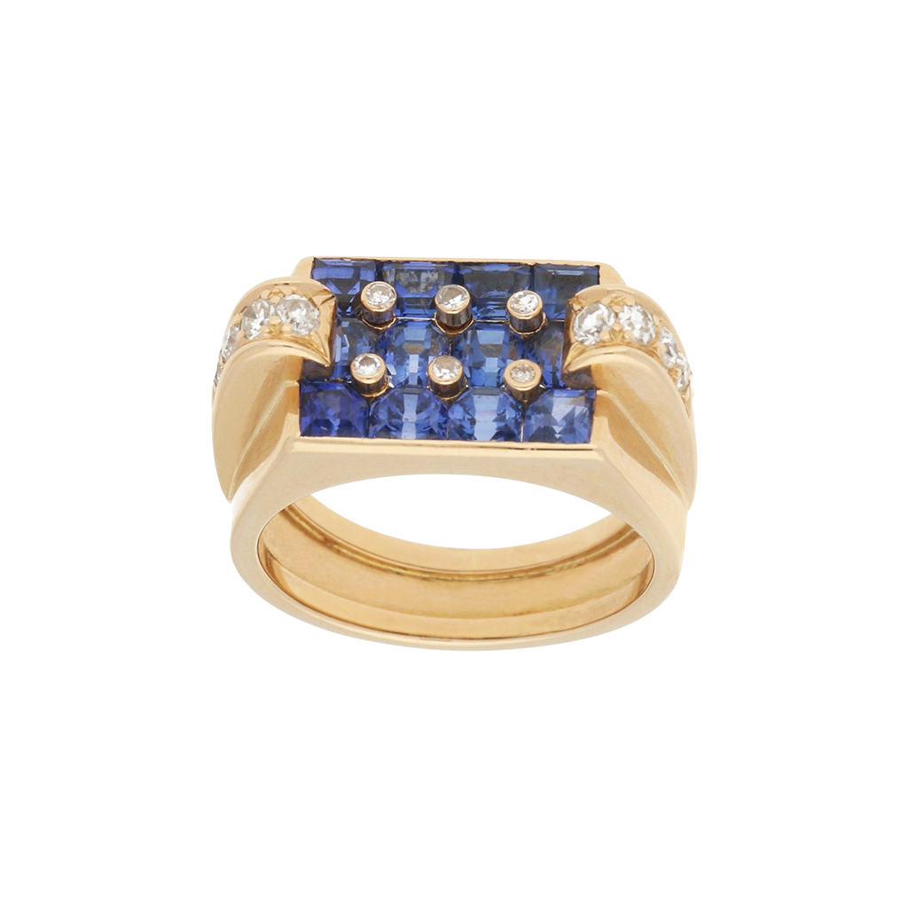 Retro Sapphire and Diamond Cocktail Ring in Rose Gold